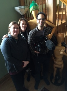 Filmmakers Karen Whitehead, Katherine Wilkins De Francis & cinematographer Pierre Kattar on location in Heintz's hallway ... with mannequins! COPYRIGHT IMITATING LIFE 2015