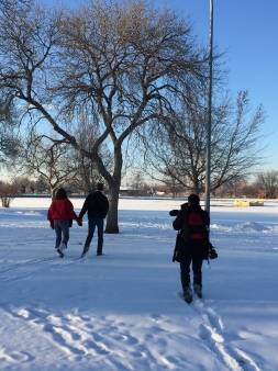 Snowy Denver did not deter production team & Heintz, filming a walk in the park with her boyfriend, Dave. copyright IMITIATING LIFE 2015