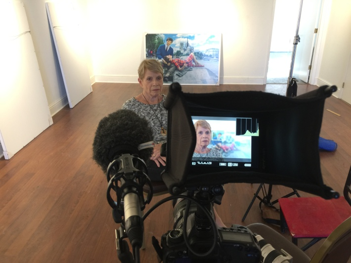 On Camera with Heintz's mum, Anne during hanging day for Heintz's show at Firehouse Gallery, Longmont CO Copyright IMITATING LIFE 2015