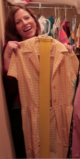 Yellow Gingham dress, Heintz wore for the very first vacation spot shoot with the mannequins in Yellowstone Park copyright IMITATING LIFE 2015