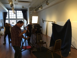 Production Crew preparing for Heintz family interviews at the Firehouse Art Gallery hanging day. Copyright IMITATING LIFE 2015
