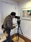 For some close up shots at Heintz's art gallery installation, we improvised with a 'dolly' (board plus wheels) Heintz usually uses while working with the mannequins! copyright IMITATING LIFE 2015
