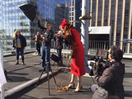 Heintz on Manhatten rooftop setting up shot for one of her famous holiday cards! copyright IMITATING LIFE 2015