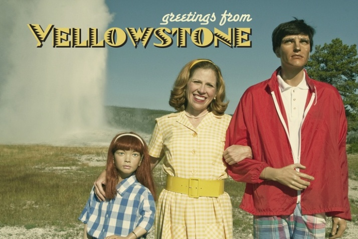 Suzanne Heintz and her fake family at Yellowstone National Park, 2010 copyright Suzanne Heintz